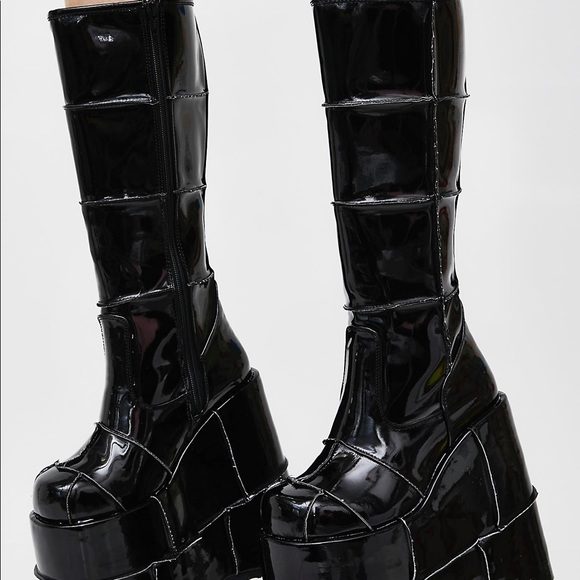 0ae31babeac Demonia Shoes - Demonia glossy black stack platform boots size 7